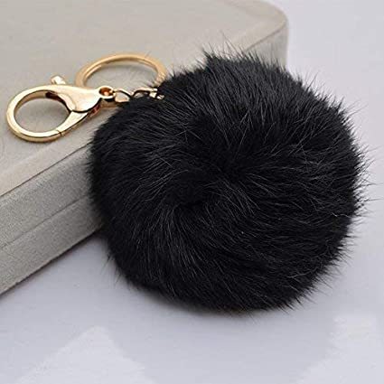 f4fc4eed52fe Amazon.com   Miraclekoo Rabbit Fur Ball Pom Pom KeyChain Gold Plated  Keychain with Plush for Car Key Ring or Handbag Bag Decoration (Black)    Office ...