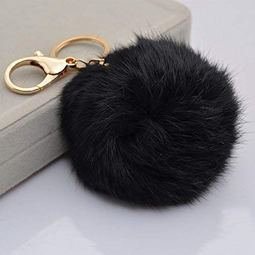 Miraclekoo Rabbit Fur Ball Pom Pom Keychain Gold Plated Keychain with Plush for Car Key Ring or Handbag Bag Decoration (Black)