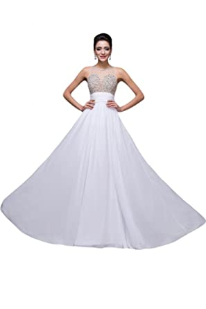 Sunvary Scoop Illusion Upper A Line White Wedding Dresses Prom Evening Dresses-6-White