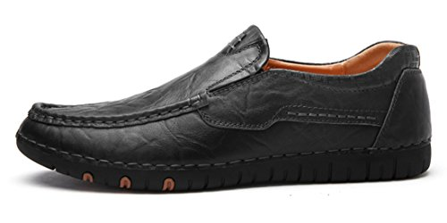 TDA Mens Slip-On Stitching Low-Top Leather Casual Driving Walking Loafers Boat Shoes Black G5ycOTcbV
