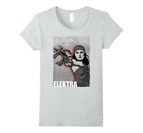 [Womens Marvel Elektra You Will Answer To Her Grunge Poster T-Shirt Large Heather Grey] (Youll Large Poster)