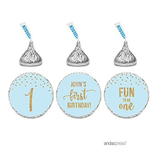 Andaz Press Light Blue Gold Glitter Boy's 1st Birthday Party Collection, Personalized Chocolate Drop Label Stickers Trio, 216-Pack, Custom Name, Fits Hershey's Kisses Party Favors