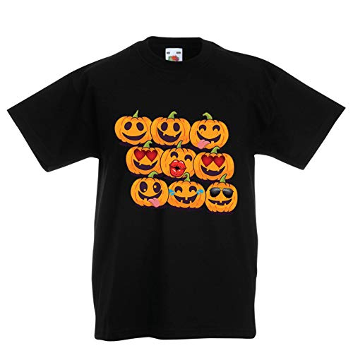 lepni.me Kids T-Shirt Pumpkin Emoji Funny Halloween Party Costume (7-8 Years Black Multi Color) -