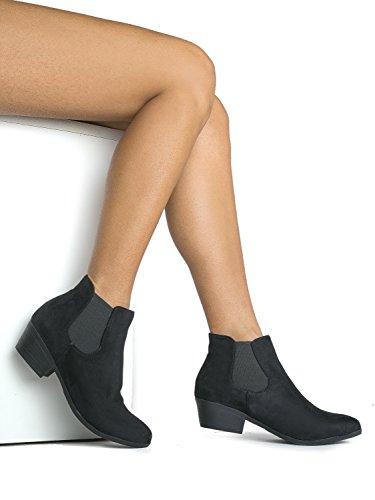 Soda ZooShoo Ankle Adams Chelsea Black Leather Boots J Imsu Elastic Women's Faux Panel Side Dress EW5vxBnB