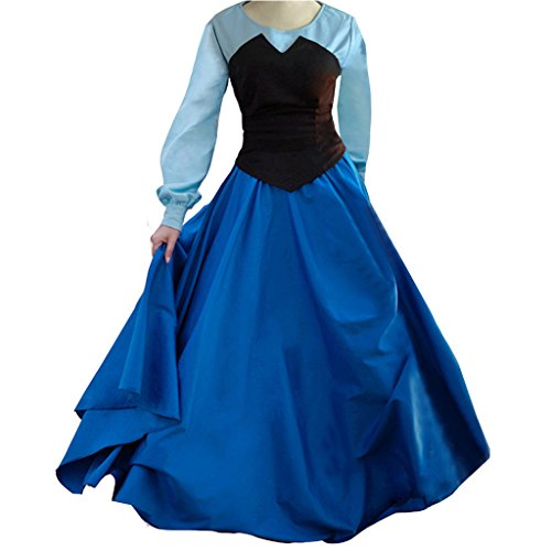 Cuterole Adult Women's Ariel Blue Costume Cosplay Halloween Party Dress (Ariel Cosplay Dress)