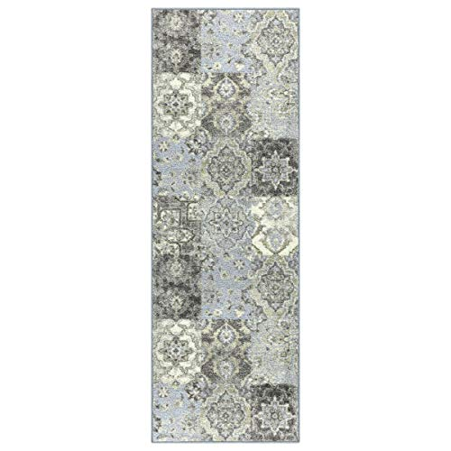 - Maples Rugs Runner Rug - Vintage Patchwork 2 x 6 Non Skid Hallway Entry Rugs Runners [Made in USA] for Kitchen and Entryway, Teal