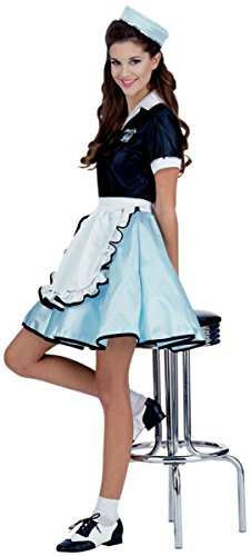 UHC Women's Car Hop Girl Outfit Adult Fancy Dress Halloween Costume, OS (Car Hop Girl Adult Costumes)