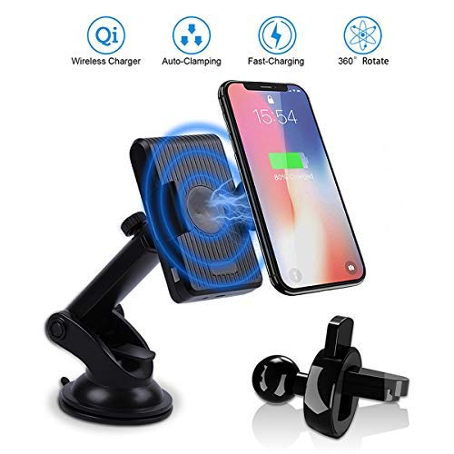 Wireless Car Charger Mount, 10W Fast Qi Car Charging Phone Holder Windshield Dashboard Vent, Infrared Automatic Clamp Car Mount Compatible for iPhone Xs Max XR X 8 Plus Samsung S10 S9 All Qi-Enabled