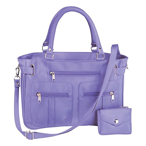 Womens Zippered Pocket Microfiber Handbag