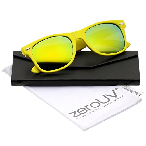 zeroUV - Retro Large Square Colored Mirror Lens Horn Rimmed Sunglasses 55mm (Yellow / Yellow Mirror)