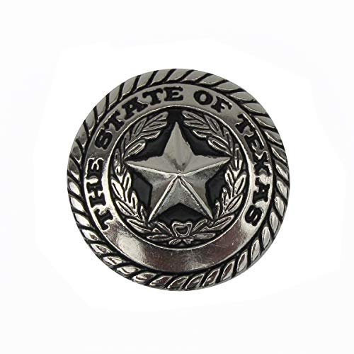 - Silver Texas State Seal and TX Star Screw Back Concho