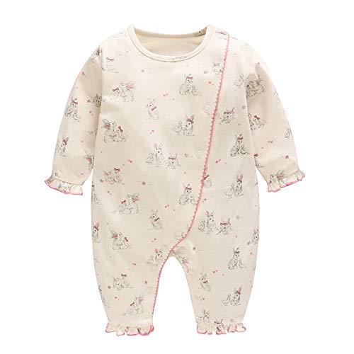 fac88425b0f39 Baby nest ベビー服 女の子 長袖ロンパース 前開き カバーオール 新生児服 かわいい ウサギ 9-12
