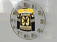 FanPlastic Brad Marchand 63 N H L Jersey Themed Wall Clock - Boston Bruins Colors - Canada Hockey Legends Edit