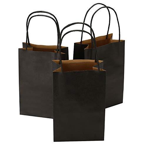 Road 5.25 x 3.25 x 8 Inches 50pcs Black Kraft Paper Bags with Handle, Shopping Bag, Retail bag, Craft Paper Bag, Merchandise Bag, Gift Bag, Party Bag -