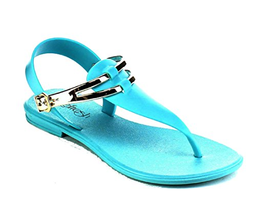 Refresh SAHARA Womens T-Strap Jelly Thong Adjustable Buckle Flat Heel Fashionable Casual Sandals Turquoise s0Qce8RH7