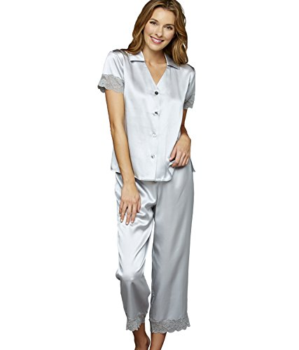 Julianna Rae Tresor Delice Women's 100% Silk Pajamas, Rain, S