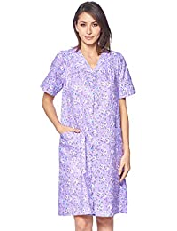 aef556195d0 Women s Snap Front House Dress Short Sleeve Woven Housecoat Duster Lounger  Robe · Casual Nights