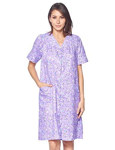 Plus Size Cotton Robes - Casual Nights Women's Snap Front House Dress Short Sleeve Woven Duster Housecoat Lounger Robe, Floral Purple, 3X-Large