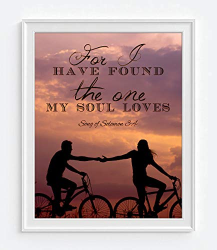 (For I have found the one my soul loves - Song of Solomon 3:4 Photography PRINT, UNFRAMED, bicycle cycling bike, Bible Verse Wall art decor poster sign, Christian art gift, 8x10)