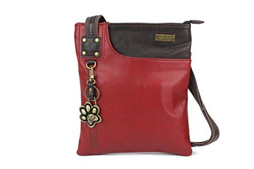 New Chala Crossbody SWING Bag Vegan Leather (Cat, Turtle, Owl, Dragonfly) Group (Burgundy- Paw)
