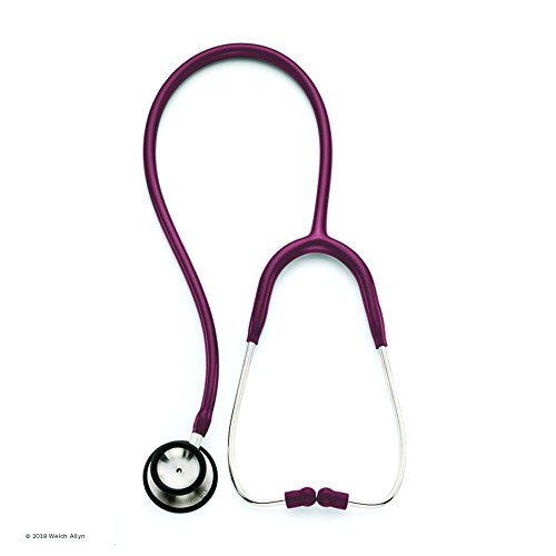 Welch Allyn Adult Professional Stethoscope, Burgundy; 5079-139; Double-Head Chestpiece (Diaphragm and Low-Frequency Bell), Single Lumen Tubing, 28 in.
