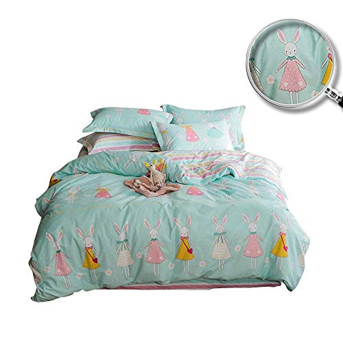 XUKEJU Reversible 3 Pieces Rabbit Princess Duvet Cover Cartoon Animal Print Bedding Set 100% Cotton Quilt Cover Twin Size for Boys/Girls
