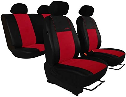 saferide | Maß Autositzbezüge Rot Set Komplettset 5-Sitze Sitzbezüge Sitzbezug Schonbezug Schonbezüge Autoschonbezug Autositzbezug Sitzauflagen Sitzschutz Gallante Exclusive