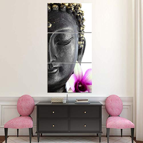 Enlightened Buddha Canvas Wall Art - Ready to Hang - Buddhist Decor Picture with Buddha Head Statue - Large Print for Home Office, Living Room, Bedroom, Kitchen - Made in USA - 3 Piece 72