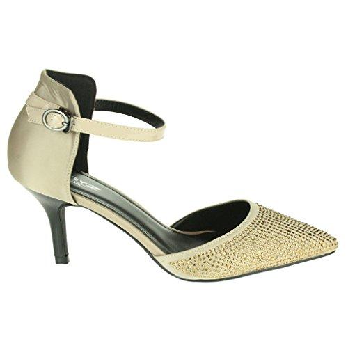 Mujer Señoras Sparkly Dedo del pie puntiagudo Correa de tobillo Tacón medio Noche Boda Fiesta Nupcial Paseo Sandalias Zapatos Talla Oro
