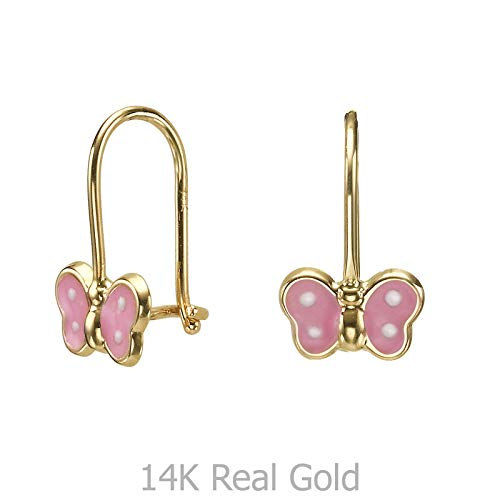 - 14K Solid Yellow Gold Eliptical Hoop Earrings Animals Noah Butterfly Kids Girls Child Children Gift