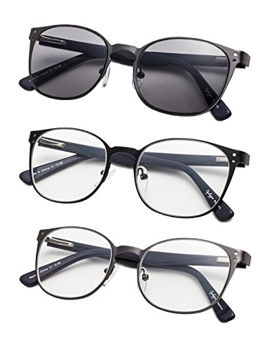 - 3-Pack Acetate Temples Reading Glasses with Spring Hings +1.75