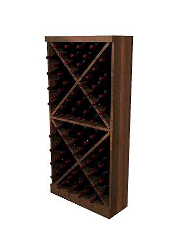 - Winemaker Series Wine Rack - Solid Diamond Cube - 4 Ft - Premium Redwood Dark Walnut Stain