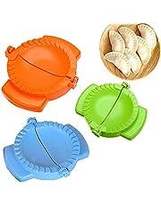 3-Piece Dough Press Set, Dumpling Maker, Empanada Press, Meat Pie Cutter, Pie Press, Pastry Press, Perfect for Dumpling, Calzone, Ravioli, Empanada, Turnover & Pierogi (Orange+Blue+Green)