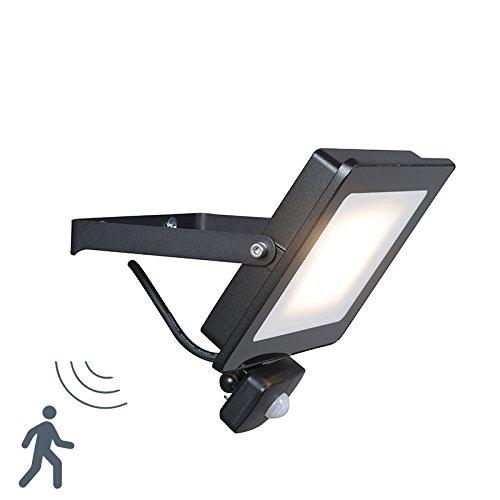 QAZQA Moderno Proyector LED RADIUS 1 30W negro con sensor de ...