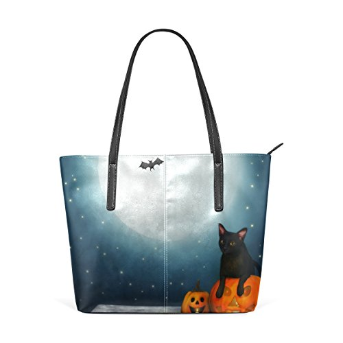 Coosun Black Cat On The Moon Night Borsa A Tracolla In Pelle Pu Per Donna