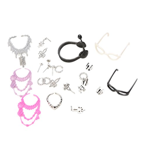 Doll Earrings - 40pcs Fashion Headset glasses Jewelry Necklace Earring Shoes Crown Accessory For Dolls