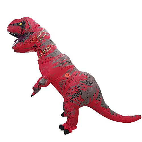 Inflatable t-rex Dinosaur Tyrannosaurus inflate Costume Christmas,Halloween Cosplay Clothes (for Children) (red)