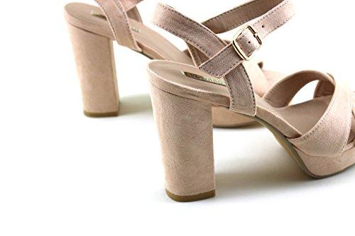 Modelisa - Sandalias Cruzadas Tacon Mujer Rosa
