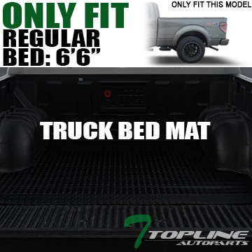 Topline Autopart Black Rubber Diamond Plate Truck Bed Cargo Box Floor Mat Carpet 15-17 Ford F150 Regular Super Crew Cab 6.5 Ft 78