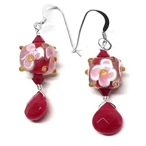 Cherry Red Briolette Pink White Floral Glass Cube Earrings Sterling Silver