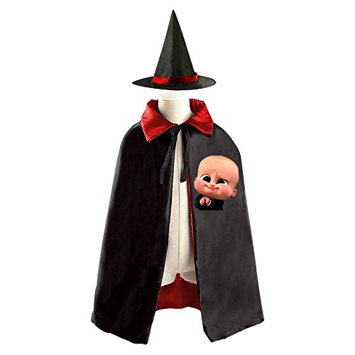 2017 The Boss Baby Kids Halloween Party Costume Cloak Wizard Witch Cape With Hat