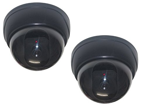 Aleko D01-2PC Lot of 2 Dummy Fake Imitation Security Camera with Flashing Light LED Cost-effective Security CCTV Simulated Dome Camera