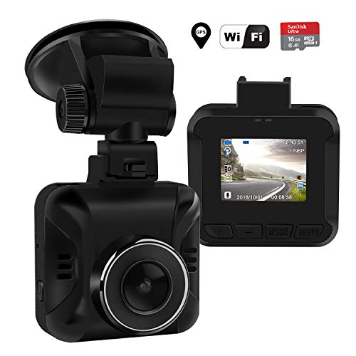 HD Car Dash Cam,1296P Dash Camera Recorder Built-in WiFi & GPS,165 ° Wide Angle,1.5