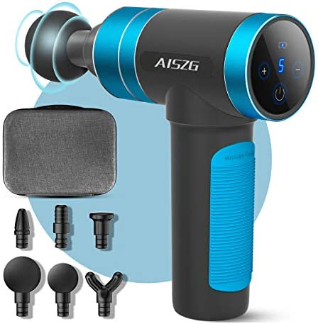 AISZG Massage Gun, Deep Tissue Percussion Muscle Massager for Athletes, Silicone Handle, Electric Body Massager with 5 Adjustable Speeds and 6 Heads, 2500mAh 1
