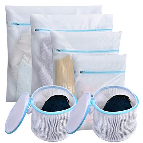 Polecasa Mesh Laundry Wash Bags for Lingerie and Delicates - 6 Pack- Lead Free Fine Net Fabric with Strengthened Zipper for Bras, Socks, Bath Towels, Bed Sheet, Bedcover, Toys, Travel Organizing