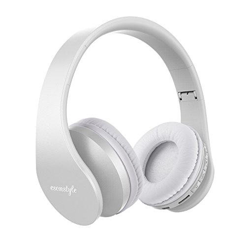 Bluetooth Headphones Over Ear, Esonstyle Hi-Fi Stereo Wireless Foldable Headset w/ Built-in Mic and Wired Mode for iphone 8 iphone X and others (white)