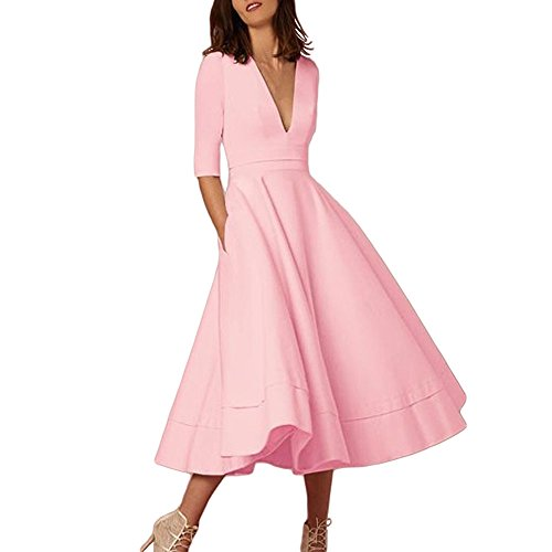 Wobuoke Fashion Women's Ladies Vintage Long Ball Gown Prom Evening Party Swing Dress Pink