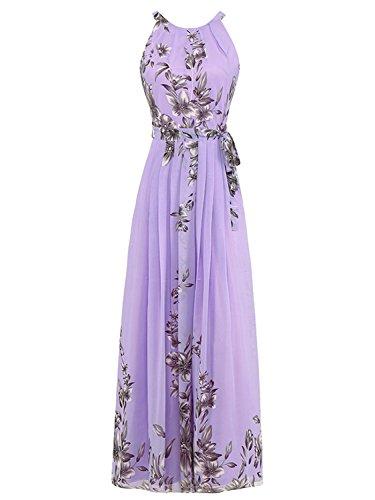 rint Maxi Dress, Purple, Medium (Chiffon Print Halter Dress)
