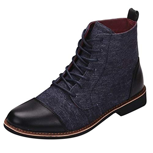 - Sunsee-Men Shoes Fashion Casual Men Boots Round Toe Boots lace-up Boots Leather Boots (US 10, Blue)