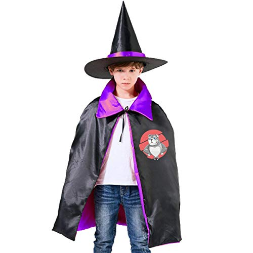 Old English Bulldog Halloween Costume Kids Wizard Witch Hat Cape Cloak -